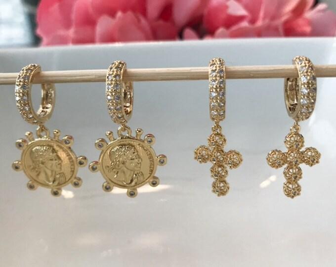 Gold Diamond Cross Hoops, Gold Greek Coin CZ Rimmed Mini Hoops, Choice Hoops, Coin Earrings, Inspirational Earrings
