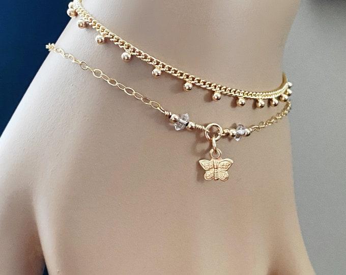 Gold Butterfly & Herkimer Diamond Bracelet, 14k Gold Filled Dainty Layering Bracelet, Herkimer Diamonds, Bohemian Chic