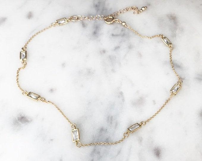 Gold Baguette Choker, Diamond Bezels, Adjustable Necklace, Minimal CZ Choker, Beverly Hills Boho