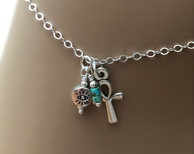 Egyptian Sterling Silver Anklet, Evil Eye, Ankh Cross, Heishi Turquoise, Beautiful and Dainty, Protection Anklet