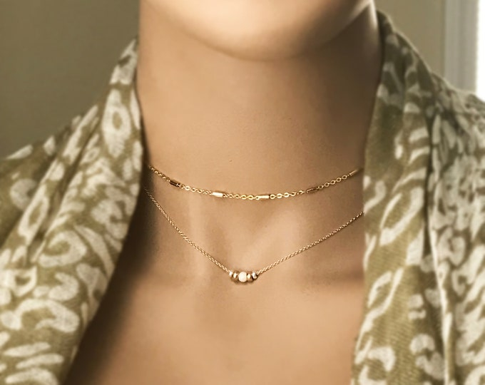 14k Gold Filled and Sterling Silver Beaded Choker Necklace, Minimalist Layered Necklace