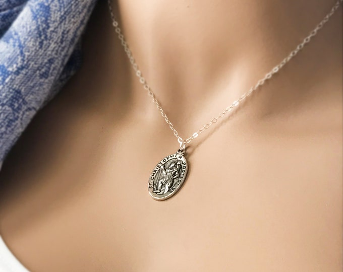 "Silver Saint Christopher ""Protect Us"" Necklace, Sterling Silver Chain, Religious Inspirational"