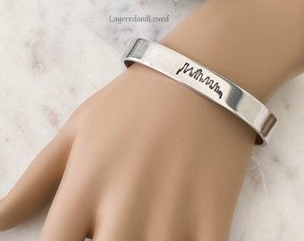 Houston Skyline Bracelet, Aluminum Cuff Bracelet, Premium Hand Stamped Silver Cuff, Texas Jewelry, Houston Love Hearts Bracelet, #1157
