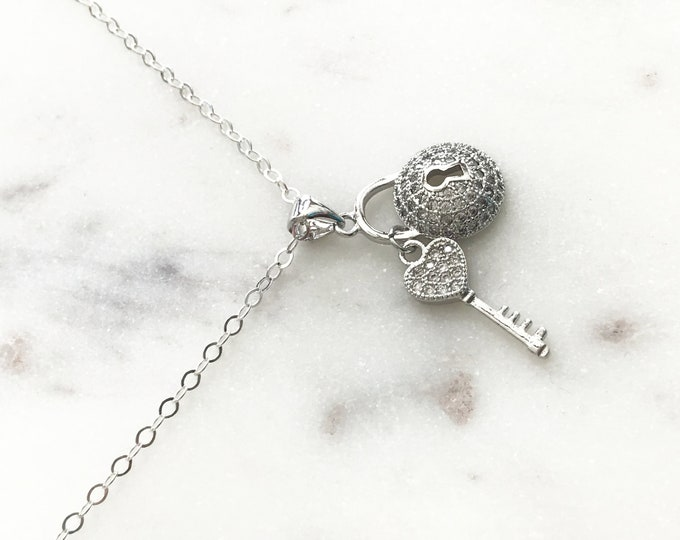 Silver CZ Padlock & Key Necklace, Sterling Silver Necklace, Cubic Zirconia Lock with Key Pendant, Crystal Charms