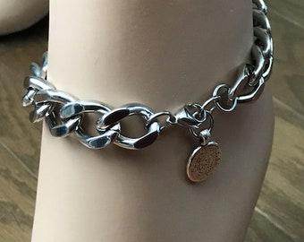 Thick Curb Chain Anklet, Silver Stainless Steel, Phaistos Charm Dangle, Adjustable Chunky Chain Anklet, Strong and Sturdy