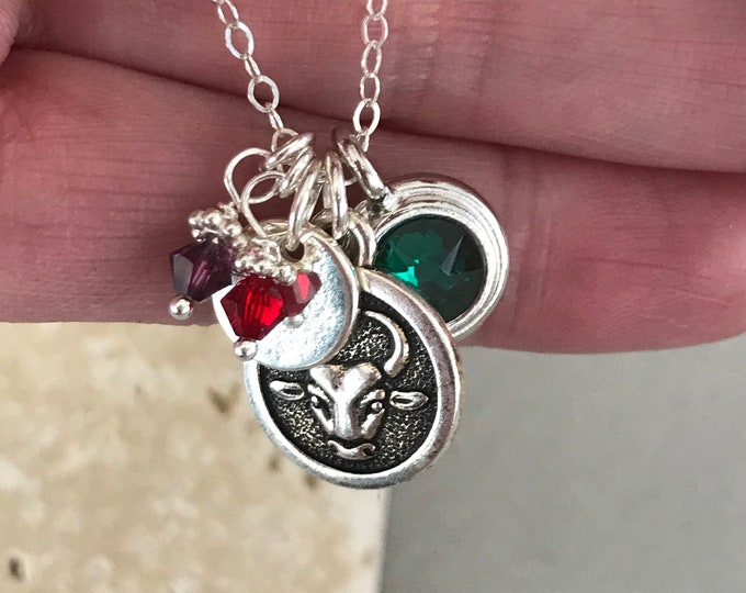 Zodiac Charm Necklace, Birthstones, Sterling Silver Hand Stamped Initial Necklace, Swarovski Crystals