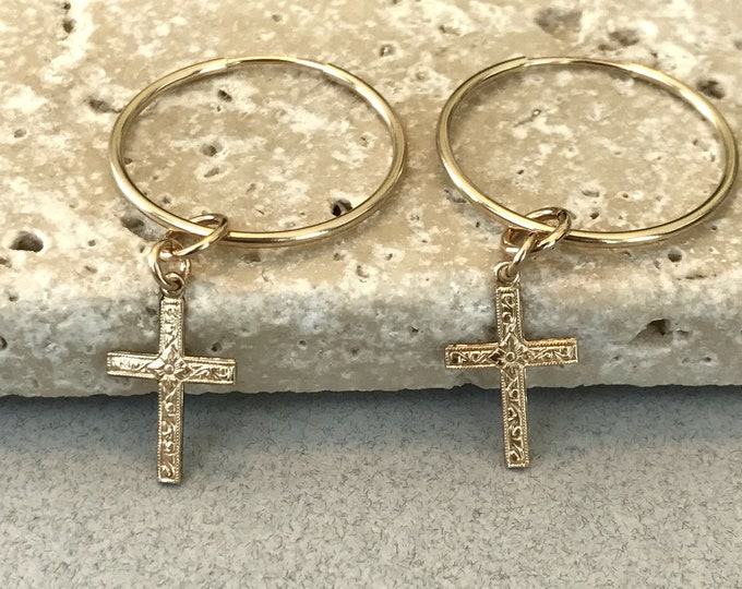 Gold Cross Hoop Earrings, 14k Gold Filled Cross Earrings, Unisex Cross Earrings, 100% 14k Gold Filled, Celebrity Inspired, Pattern Cross