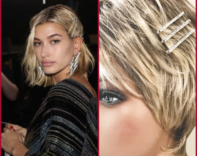 Haley Baldwin Inspired Crystal Rhinestone Bobby Pins, Bridal Hair Accessories, 6 Pack Hair Bling