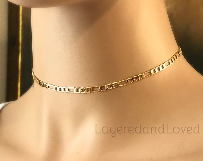 Gold Figaro Chain Choker, Shiny 24k Gold Plated Choker, Gold Filled Extension, Adjustable Length, Unisex Necklace