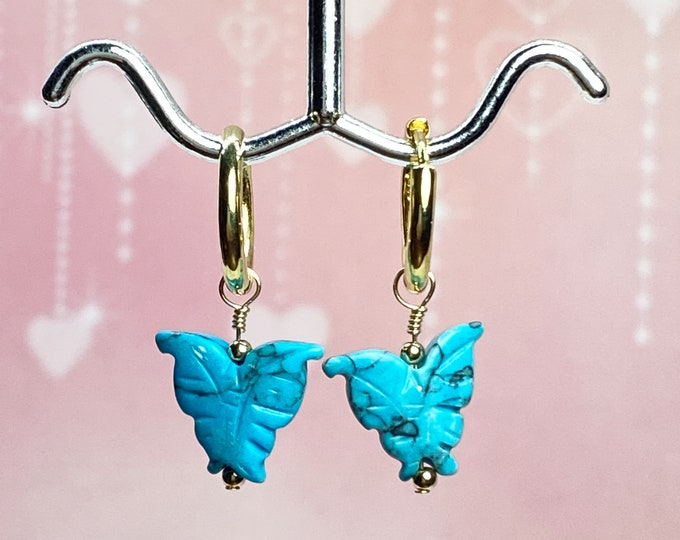 Carved Turquoise Butterfly Earrings, Gold Huggie Hoops, Tiny Gold Hoop Earrings, #1116