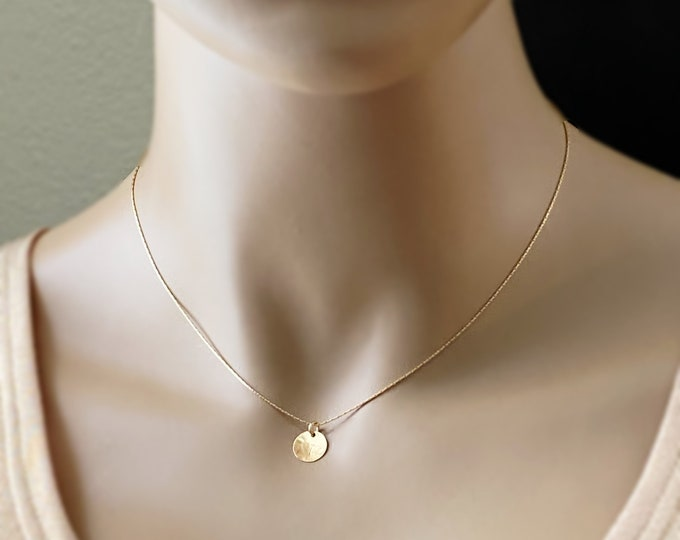 Teeny Tiny Gold Disc Choker, Sterling Silver or 14 Karat Gold Filled Snake Chain, Hand Forged Hammered Tiny Disc, Minimalist Choker
