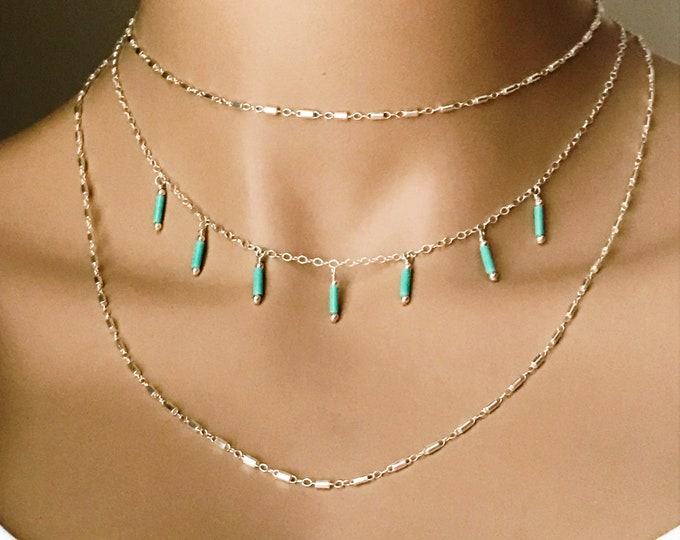 Turquoise Dangle Choker, Sterling Silver Adjustable Choker, Turquoise Chic, Layered Tribal jewelry