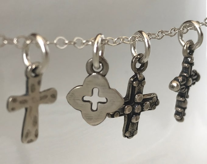 Sterling Silver Artisan Cross Choker, Oxidized Cross, Petite Layering Necklace, Choice of Cross Pendant, Artisan Choker