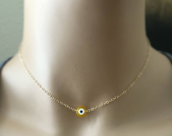 Evil Eye Choker, 14k Gold Filled or Sterling Silver, Choose Your Color, Protection Necklace