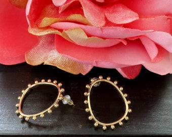 Gold Oval Ball Earrings, Mini Ball Minimalist Hoops, Classic Bohemian Chic, Dotted Frame Ovals