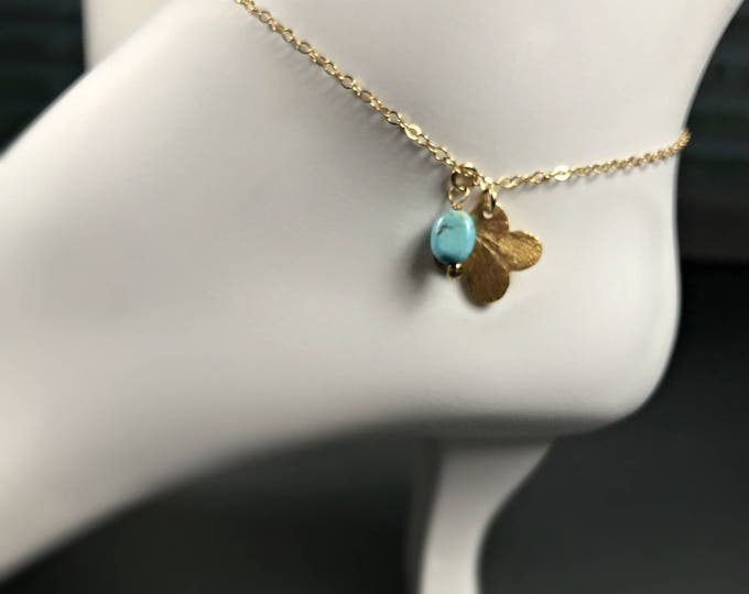 Gold Clover & Turquoise Anklet, 14k Gold filled Moroccan Style Anklet, Tropical Bohemian Jewelry, Beach Wedding