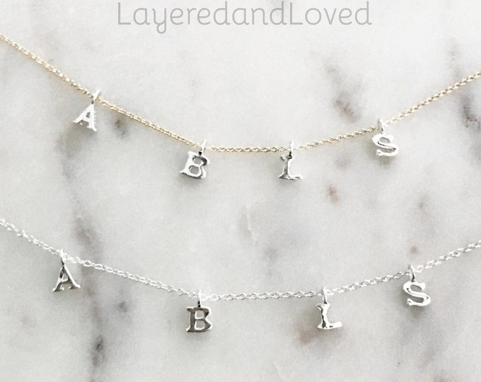 Sterling Silver Initial Necklace, Dainty choker, Monogram Initial Jewelry, Personalized Necklace, 14k Gold Filled Chain or Sterling Silver