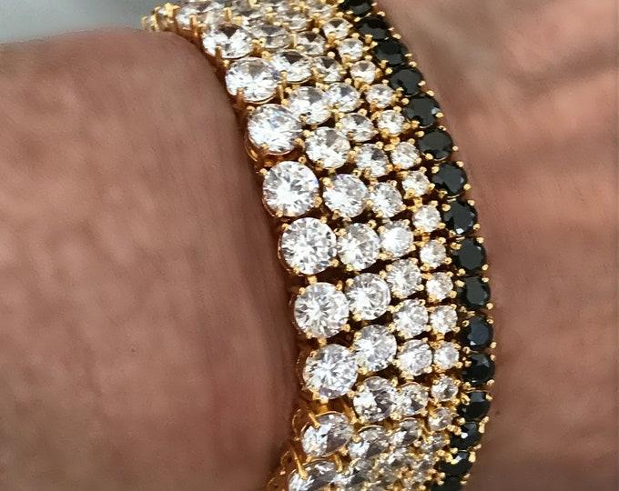 Gold Tennis Bracelet - AAA Zircon Tennis Bracelets, Black Zircon, CZ Diamond Gold Tennis Bracelets