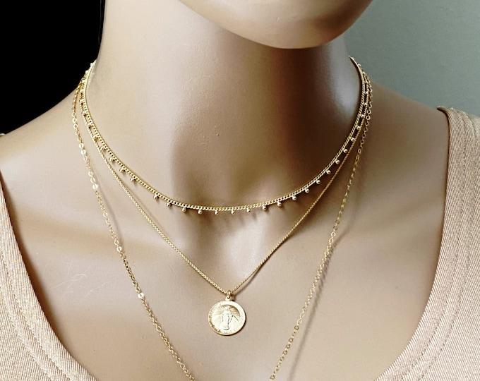 Minimalist Gold Mini Ball Choker, Gold Dotted Chain Necklace, Layering Chain Choker, Gold Dot Series Set