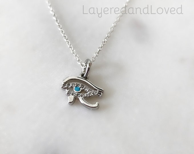 Eye of Horus Sterling Silver necklace, Dainty CZ Blue Eye Necklace, Egyptian Choker