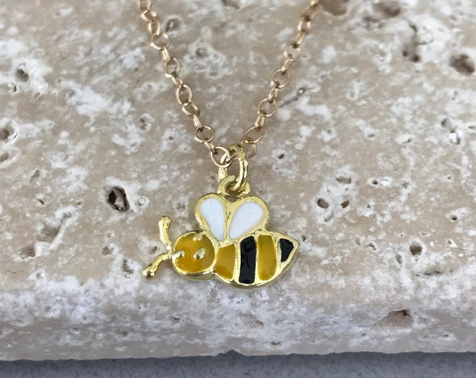 Busy Bee 14k Gold Filled Necklace, Child's Necklace, Gold Enamel Bee Charm