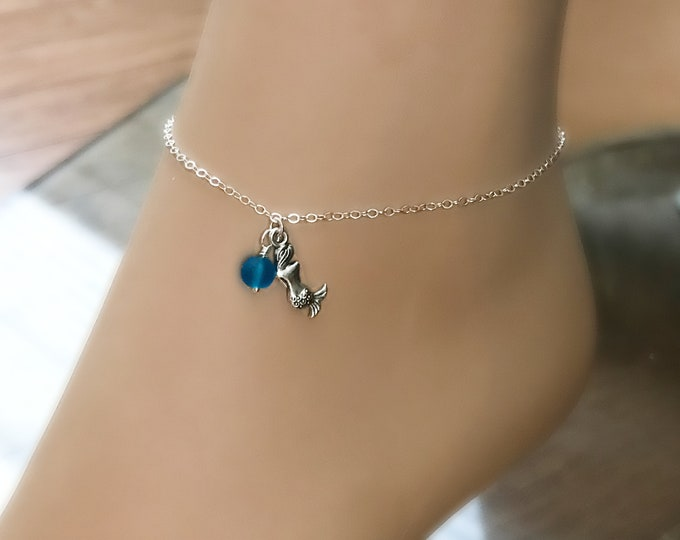 Mermaid Anklet, Sterling Silver, Blue Sea Glass, Beach Boho Jewelry, Mermaid Jewelry