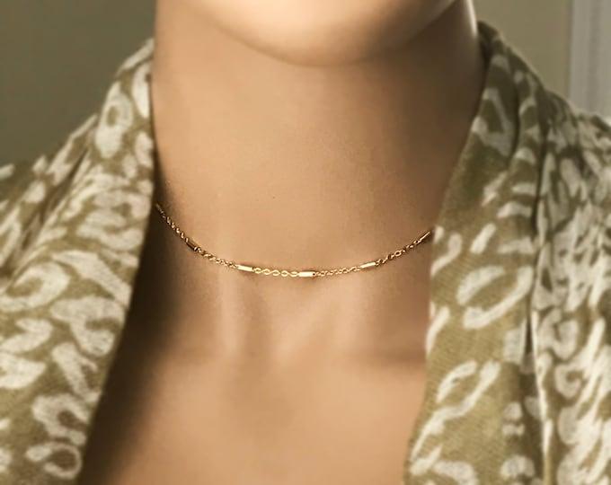 Gold Dainty Chain Choker, 24k GP Bar Chain Choker, Adjustable Necklace, Layering Choker