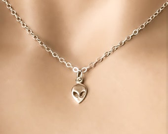 Silver Alien Necklace, 100% Sterling Silver, ET, Area 51, Petite Alien Choker