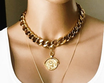 Thick Gold Chunk Curb Chain Greek Orb Medallion Choker, Weighty Stainless Steel Chain, Chunky Chain, Beach Boho Necklace