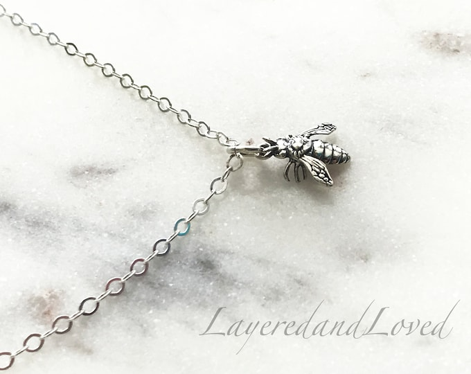 Sterling Silver Detailed Bee Necklace, Silver Bee Charm, Honey Bee Choker