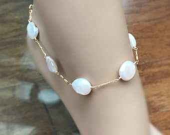 Ultimate Coin Pearl Anklet, 14k Gold Fill Figaro Chain, Freshwater Pearls Around, Bridesmaid Anklet, For the Ultimate Beach Wedding Anklet,
