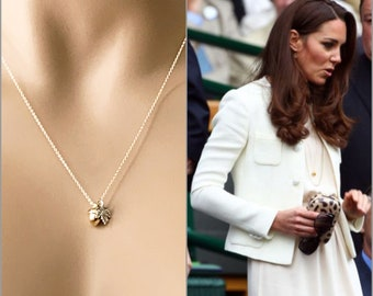Kate Middleton Inspired Acorn Necklace, 14k Gold Filled Necklace, Mixed Metal Layering Necklace, Royal Family Jewelry