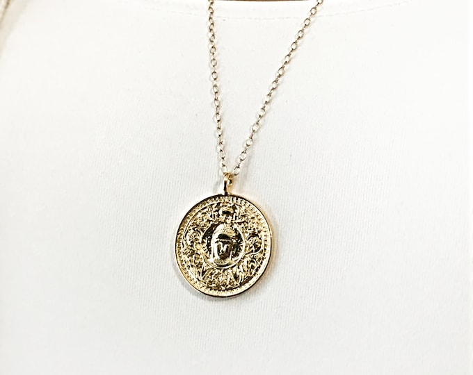 Gold Buddha Necklace, Inspirational, Meditation Gold Filled Chain Necklace
