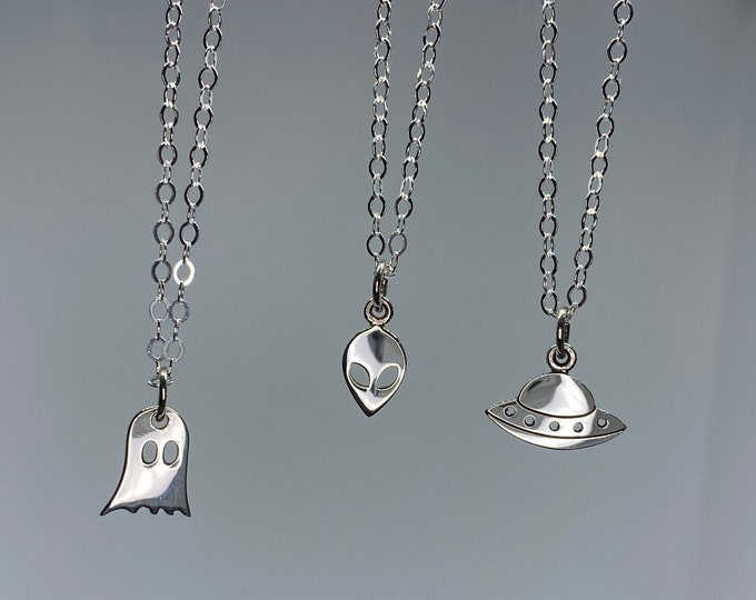 Sterling Silver Ghost, Alien, and UFO Flying Saucer Necklace, 100% Sterling Silver, ET, Area 51, Petite Charm Choker, #909