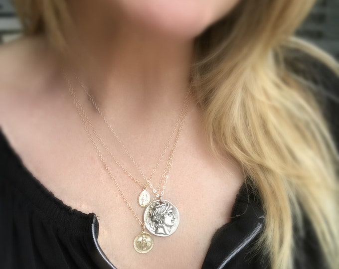 Athena Sterling Silver Greek Coin Necklace, Mykonos Coin, Celebrity Inspired Layering Coin Necklace