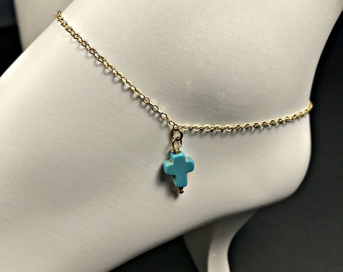 Turquoise Cross Anklet, Beach Wedding Anklet, Petite Cross, Best Friend Anklet, Bridesmaid Gift