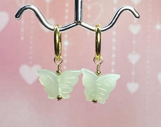 Carved Jade Butterfly Earrings, Gold Huggie Hoops, Tiny Gold Hoop Earrings, #1116
