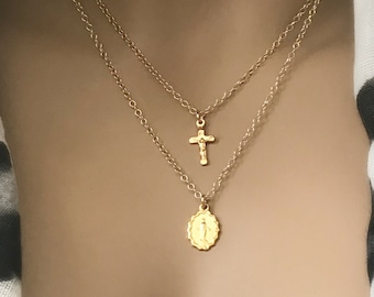 Gold Mother Mary Cross Necklace Set, 14k Gold Filled Necklace Set, Crucifix Cross Choker, Mother Mary Artisan Pendant, #655