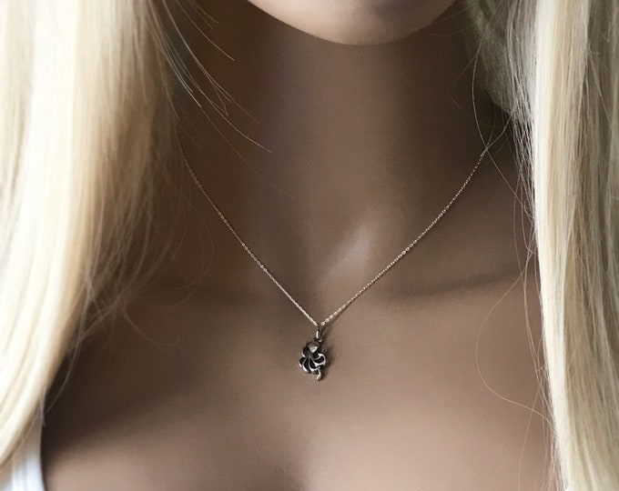Octopus Necklace, Sterling Silver Marine Necklace, Sparkling Fine Chain, FREE Extender, #1166