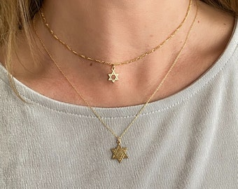 Double Layer Star of David Necklaces, 14k Gold Filled Figaro Chain, Layered Inspirational Necklaces, Separate Layers, Gold Stars, #1173