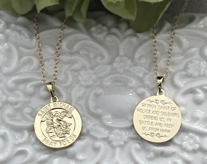 Saint Michael 14k Gold filled  Necklace, Police Officer, Service, Protection & Traveling Coin Necklace, St. Michael Protector, #932
