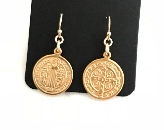 Gold Coin Earrings - Saint Benedict Charm Earrings, 14k Gold Filled Earwires, Religious & Faith Inspirational Jewelry