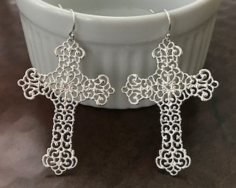 Silver Filigree Cross Earrings, CHOICE 14k Gold Filled Earrings or Sterling Silver, Big and Beautiful Light Weight Cross Earrings, #753/#943