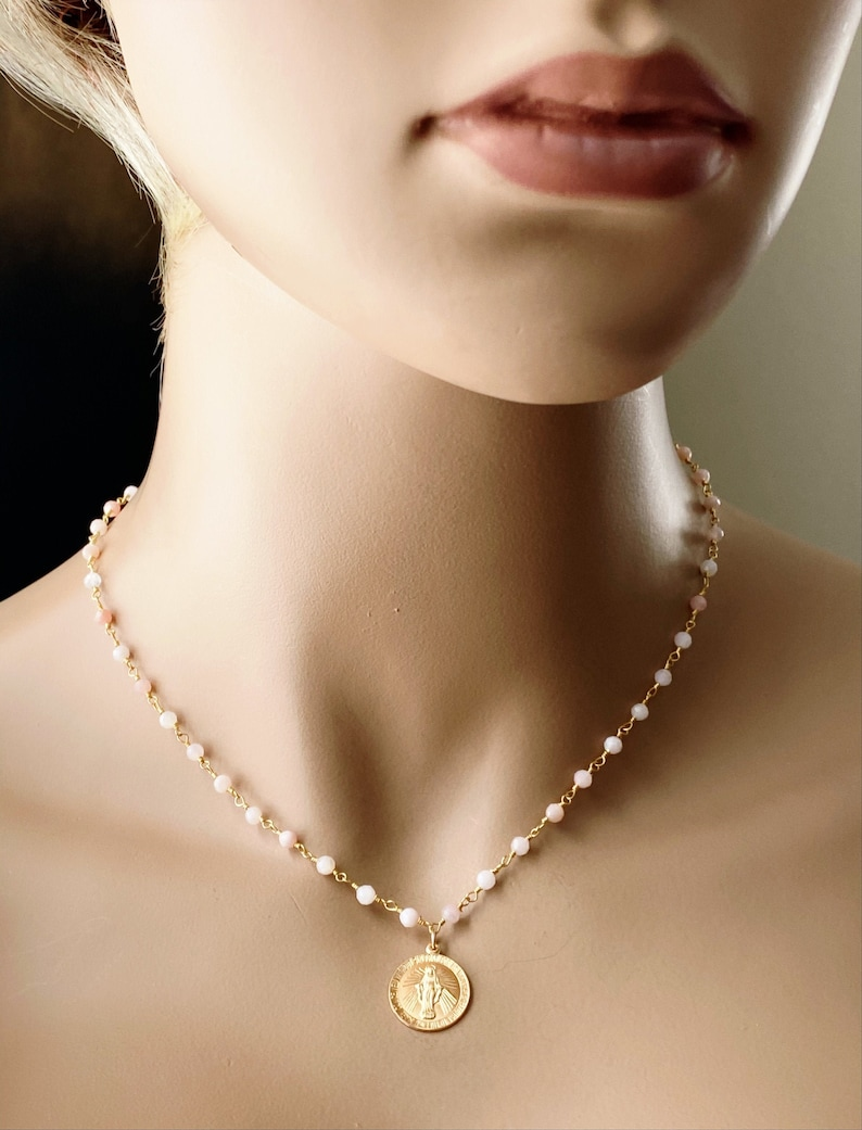 Mother Mary Pink Opal Rosary Necklace Wired Gemstones Holy image 0