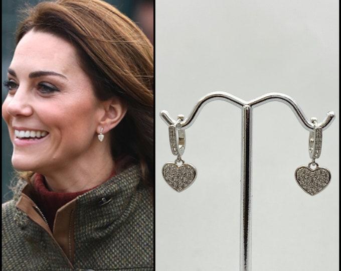 Kate Inspired Diamond Heart Huggie Hoop Earrings, SILVER is in STOCK, Sterling Silver CZ Lever Back Earrings, Dainty Royal Earrings, #1085