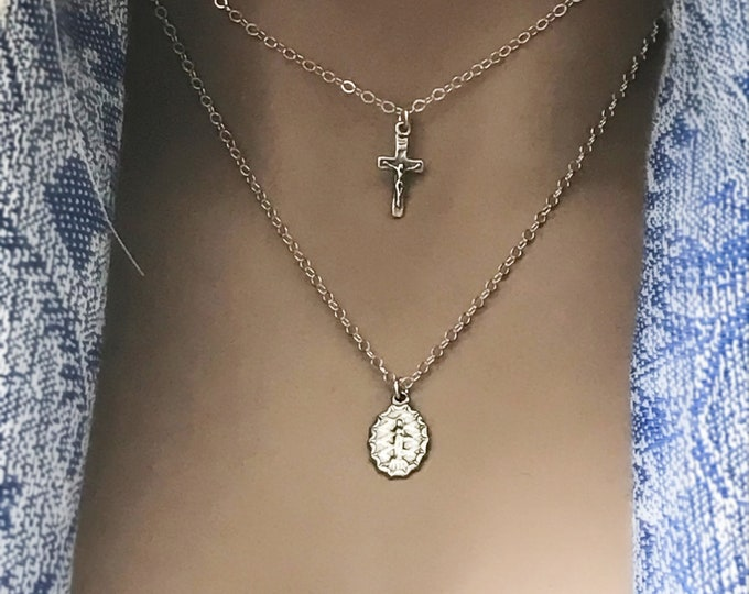 Inspirational Virgin Mother Mary Cross Necklace Set, Sterling Silver Necklace Set, Crucifix Cross Choker, Artisan Mother Mary Pendant, #667