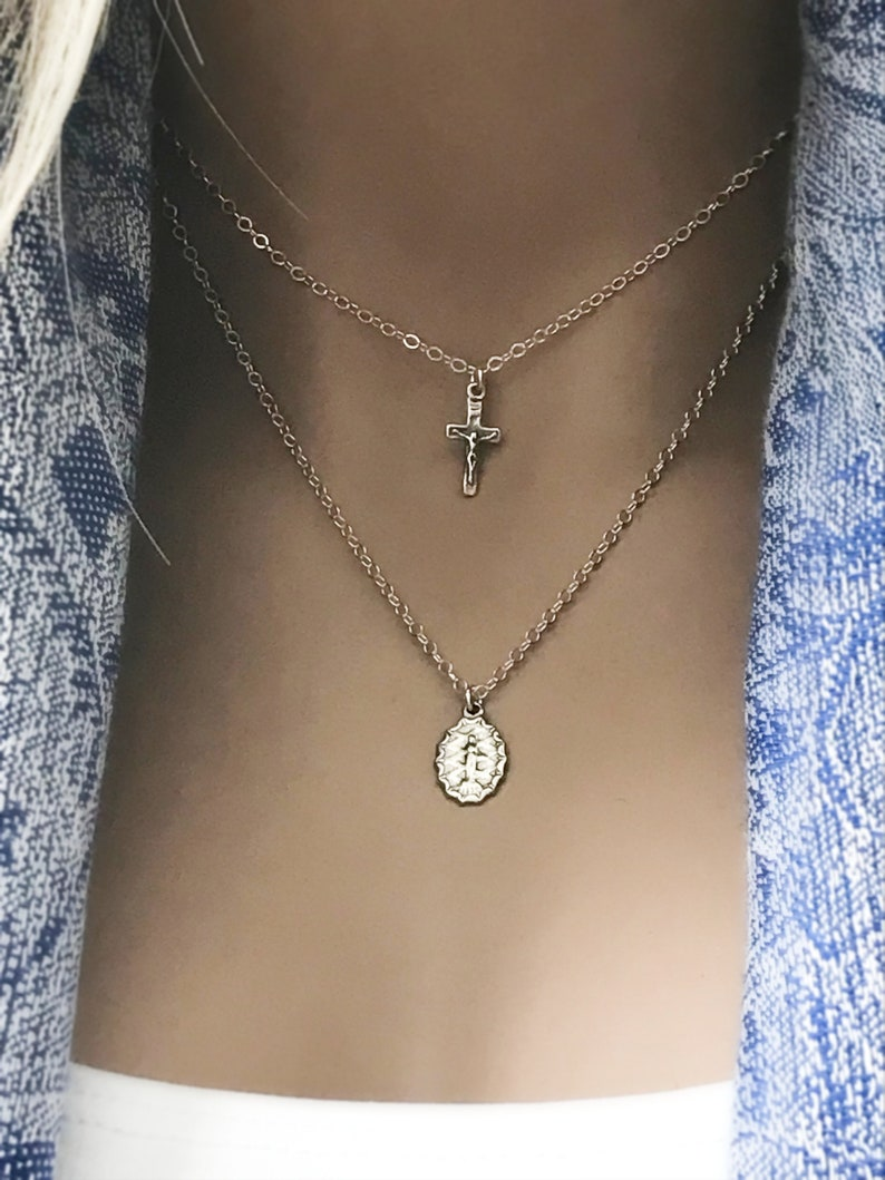 Inspirational Virgin Mother Mary Cross Necklace Set Sterling image 0