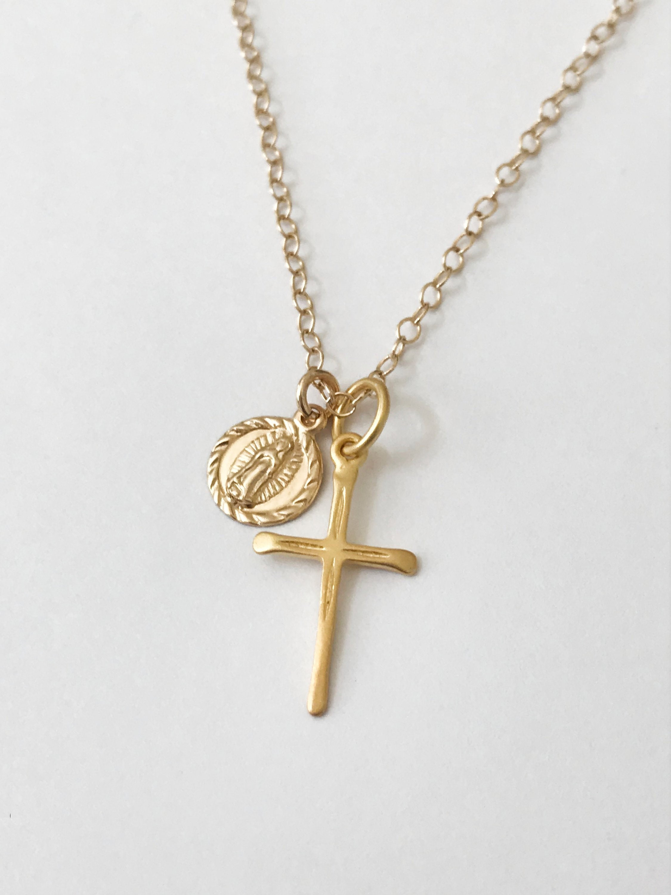 Sterling Silver /& 14k Gold-Plated Hollow Cross Pendant