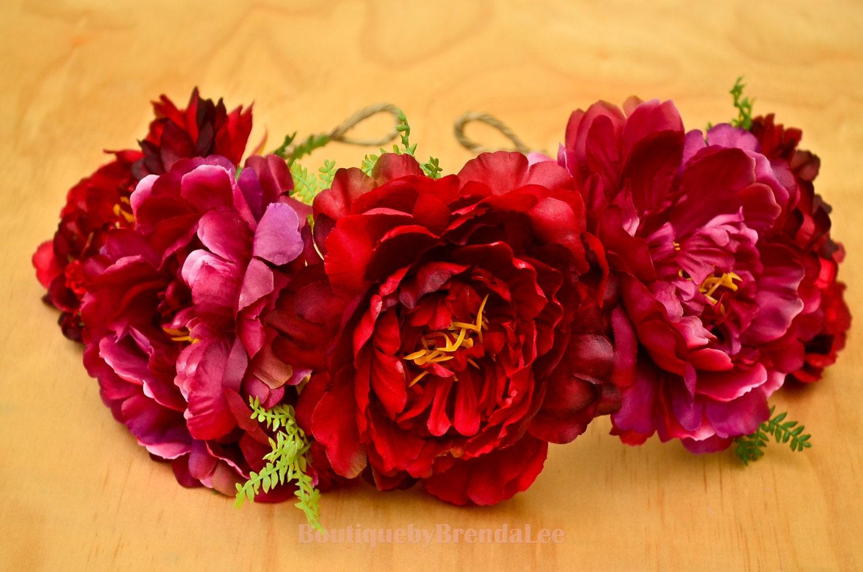 Burlesque Red Flower Crown