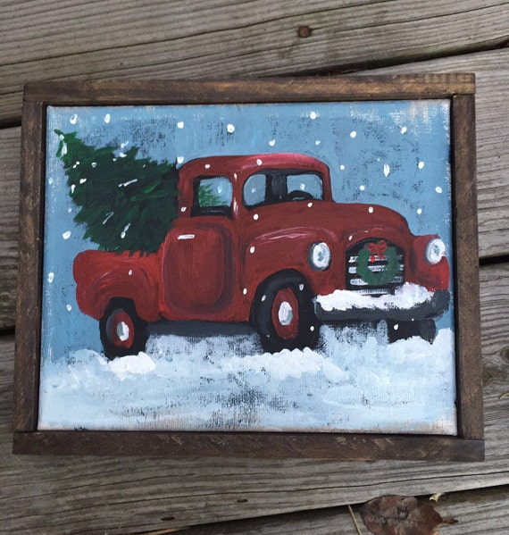 Old Truck With Christmas Tree Painting.Original Vintage Red Truck Acrylic Canvas 8x10 Canvas With Rustic Wood Frame Christmas Decor Red Truck With Christmas Tree Painting